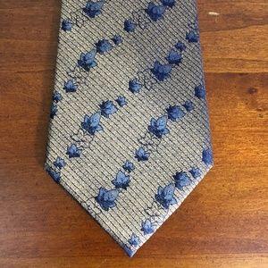 Kenneth Cole New York Bronze Blue Floral Silk Tie